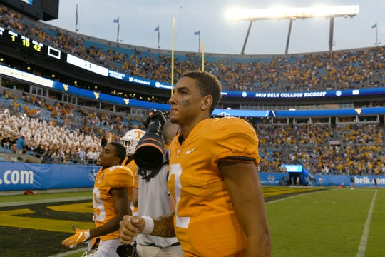 Tennessee quarterback Jarrett Guarantano (2) leaves the field after their 40-14 loss to West Virginia in the Belk College Kickoff game in Charlotte, NC Saturday, September 1, 2018.