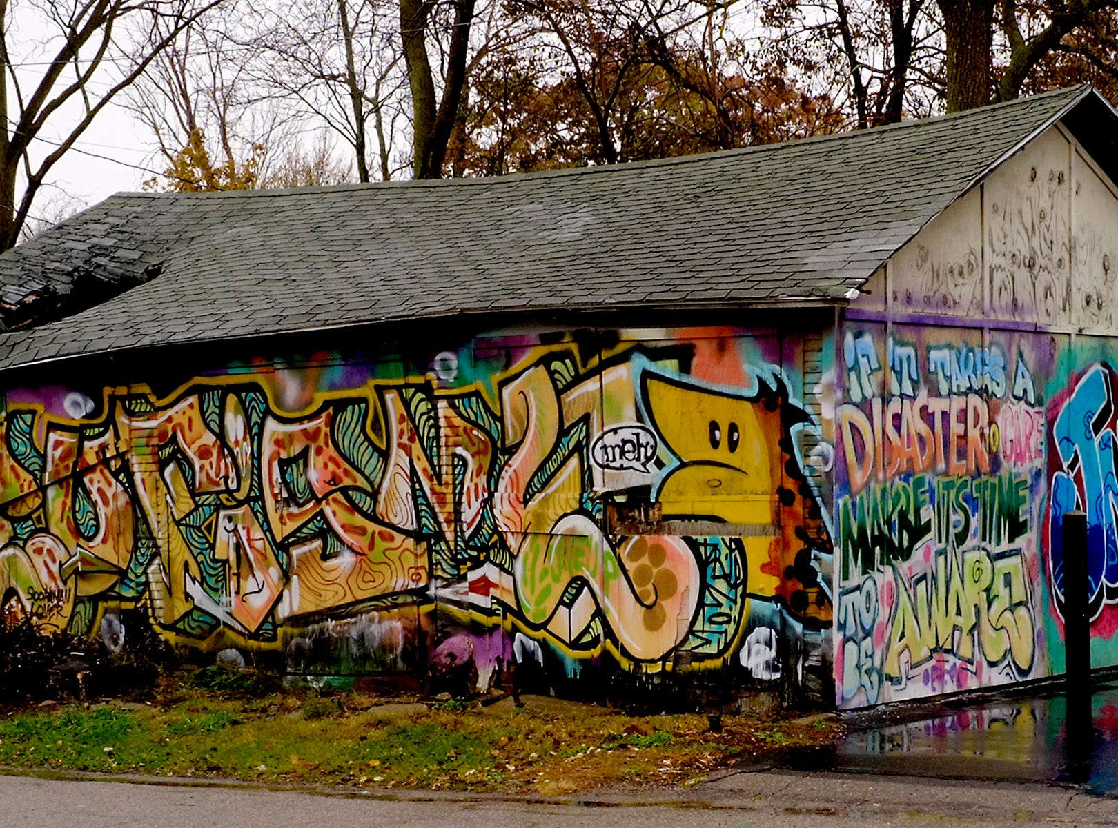 This shows how even a broken-down garage in Lansing's Reo Town can be the subject of a mural.