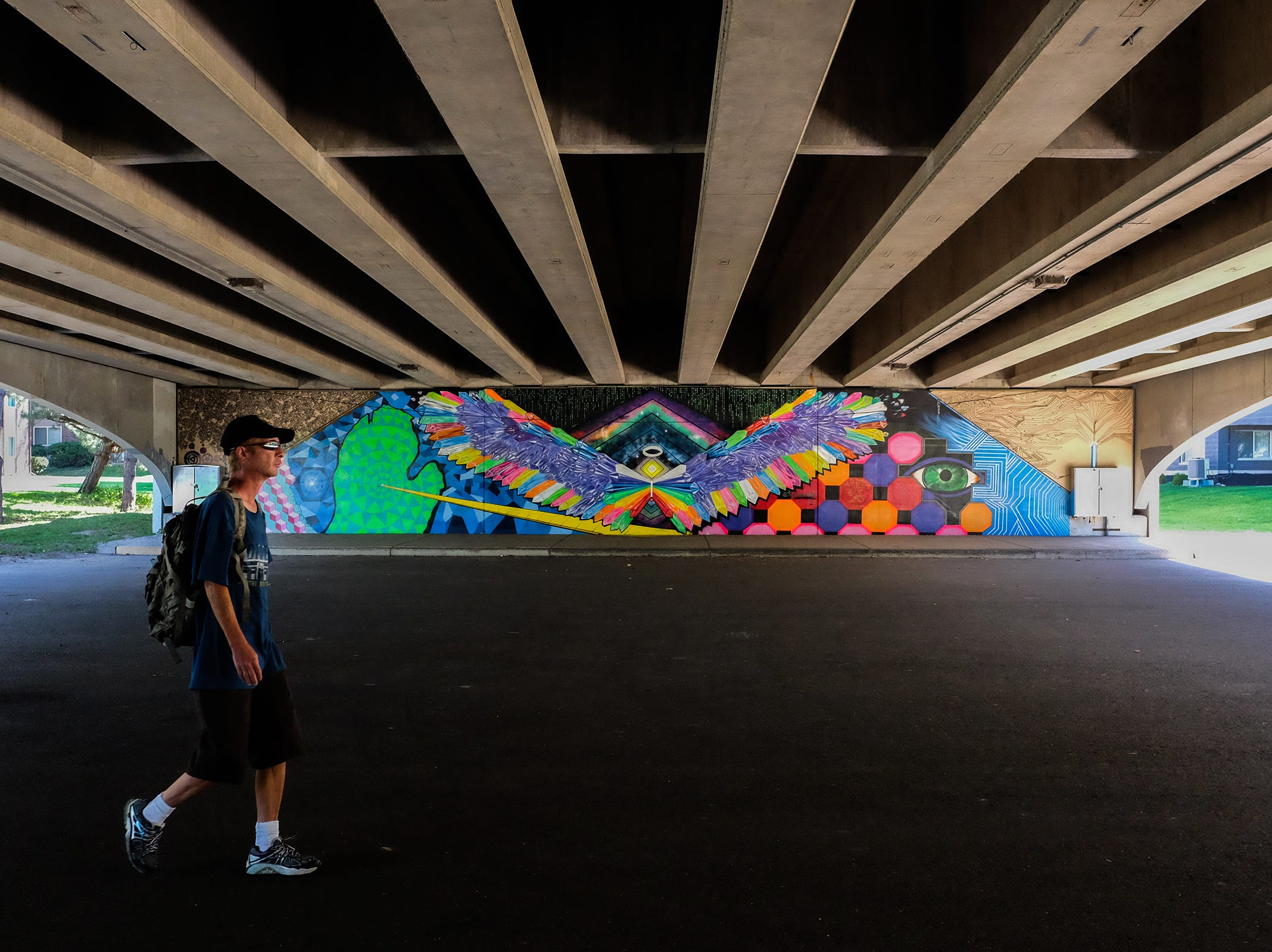 This mural under the Shiawassee Bridge in Lansing was created by Tea Brown.