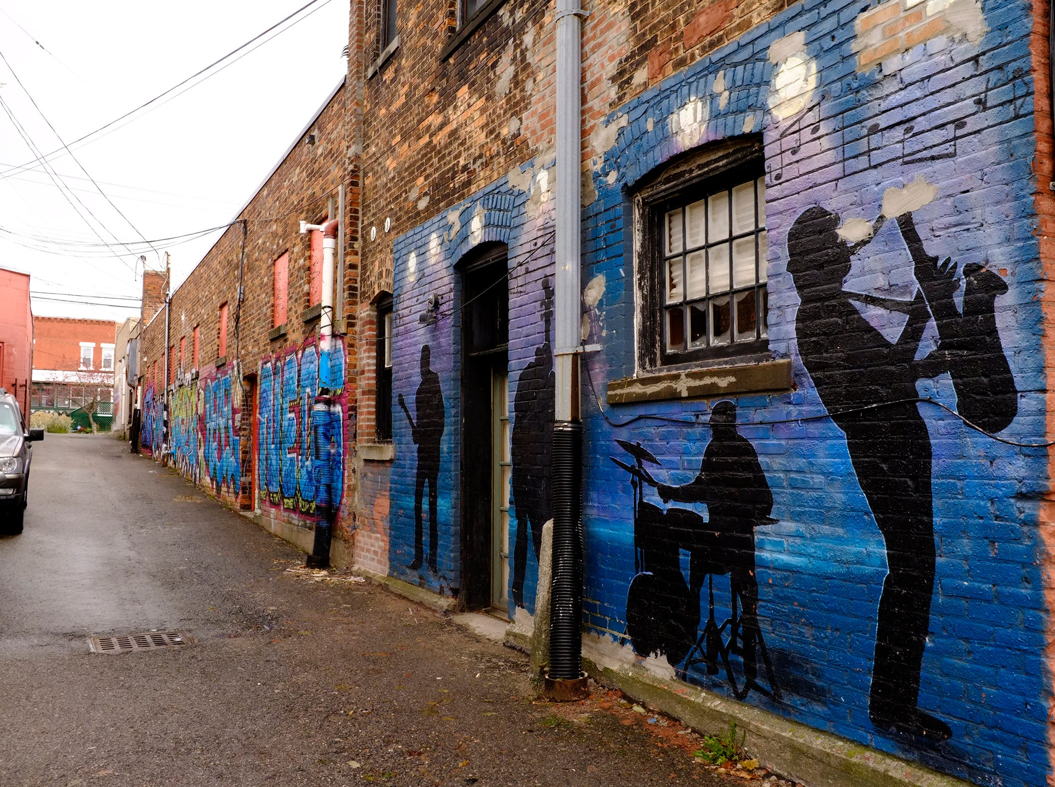This is one of several murals in the alley behind businesses on 300 E. Cesar Chavez Avenue in Lansing's Old Town.
