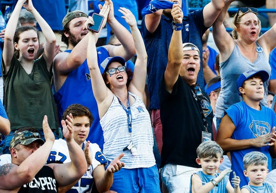 Memphis fans celebrate a touchdown against Mercer during a game at  the Liberty Bowl in Memphis on Sept. 1, 2018.