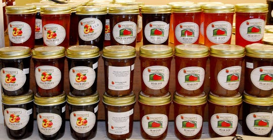 August 31, 2018 -An array of jams and jellies line the shelves at Jones Orchard in Millington, Tennessee. Jones Orchard has been in operation since 1940 growing, processing farm fresh produce and selling jams, jellies, preserves, and relishes made with their own fruit. (Stan Carroll/for The Commercial Appeal)