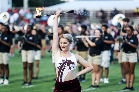 The Collierville marching band performs during the football game between Collierville and Bartlett on Aug. 31, 2018.