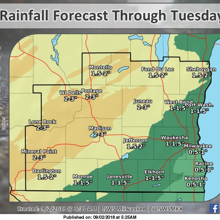 High water threatens roads for heavy Labor Day travel in southern Wisconsin