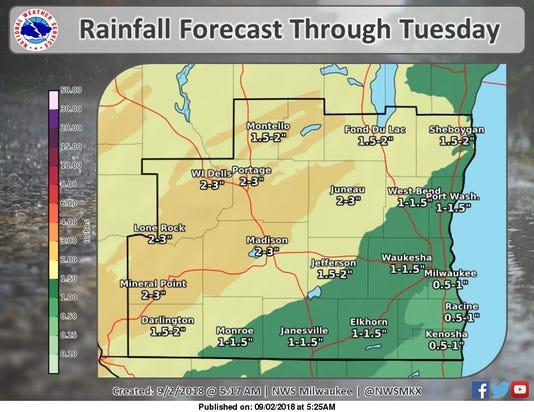 Rain Forecast Through Tuesday