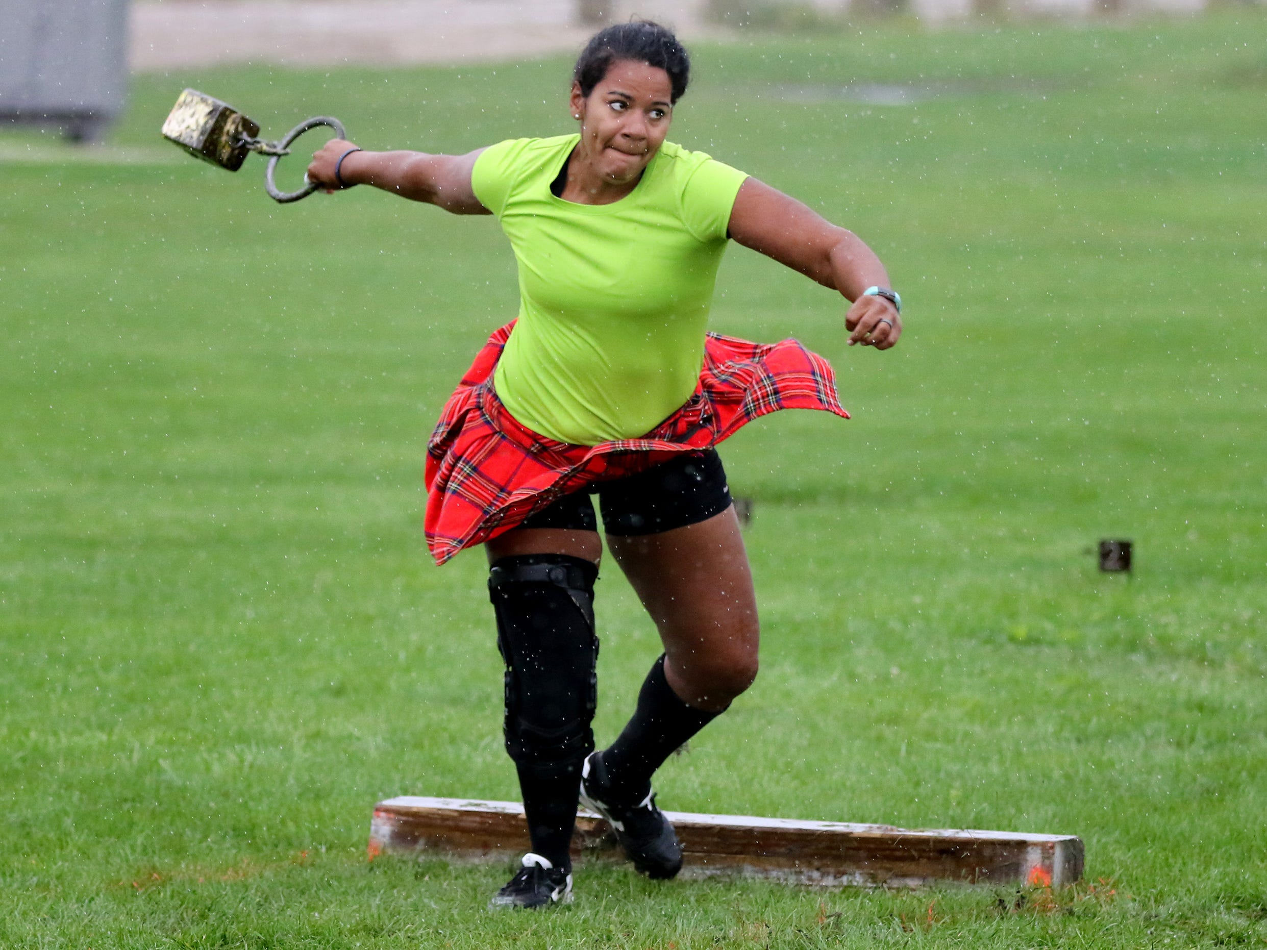 Elissa Hapner of Aurora, Illinois, spins for a throw in the heavyweight division of the Haggis Hurl Sept. 1 at the Wisconsin Highland Games on the Waukesha County Expo Center grounds.