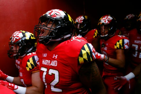 Maryland offensive lineman Marcus Minor (72) screams in the tunnel before an NCAA college football game against Texas, Saturday, Sept. 1, 2018, in Landover, Md. (AP Photo/Patrick Semansky)