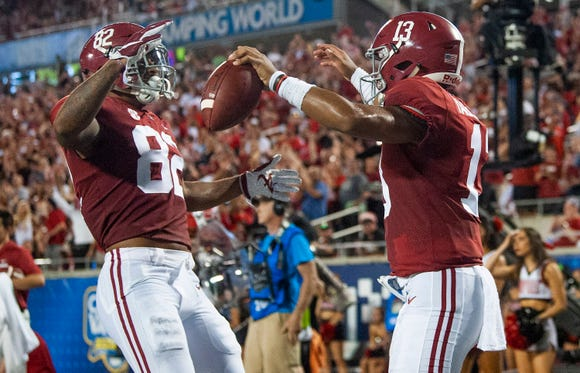Alabama quarterback Tua Tagovailoa (13) celebrates scoring a touchdown with Alabama tight end Irv Smith Jr. (82) In first half action of the Camping World Kickoff at Camping World Stadium in Orlando, Fla., on Saturday September 1, 2018.