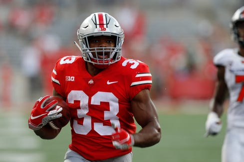 Ohio State running back Master Teague plays against Oregon State during an NCAA college football game Saturday, Sept. 1, 2018, in Columbus, Ohio. (AP Photo/Jay LaPrete)