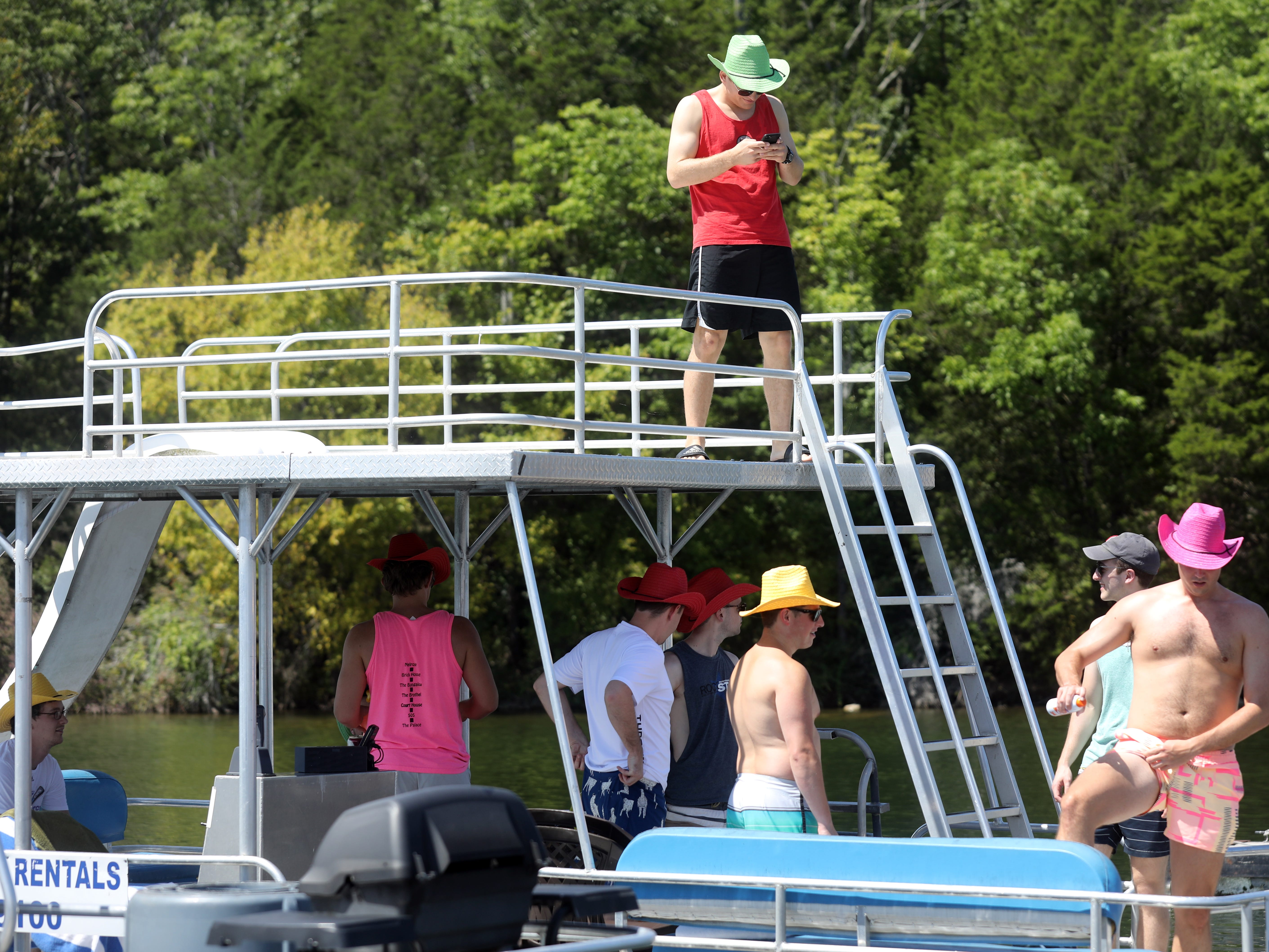 A group of friends prepares to depart Elm Hill Marina for a day on Percy Priest Lake Sunday September 2, 2018.
