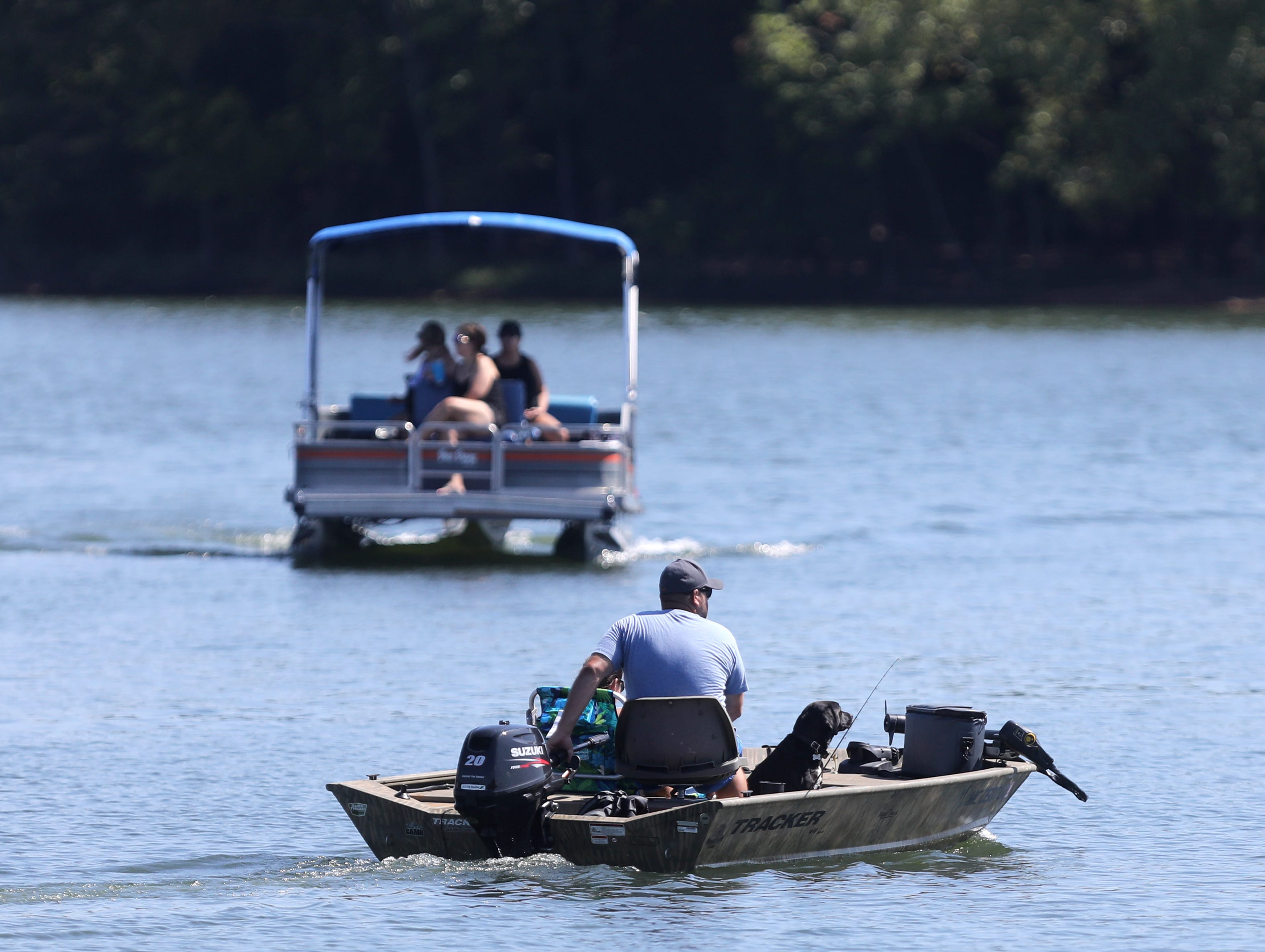 Boaters make their way around Elm Hill Marina on Percy Priest Lake Sunday September 2, 2018.