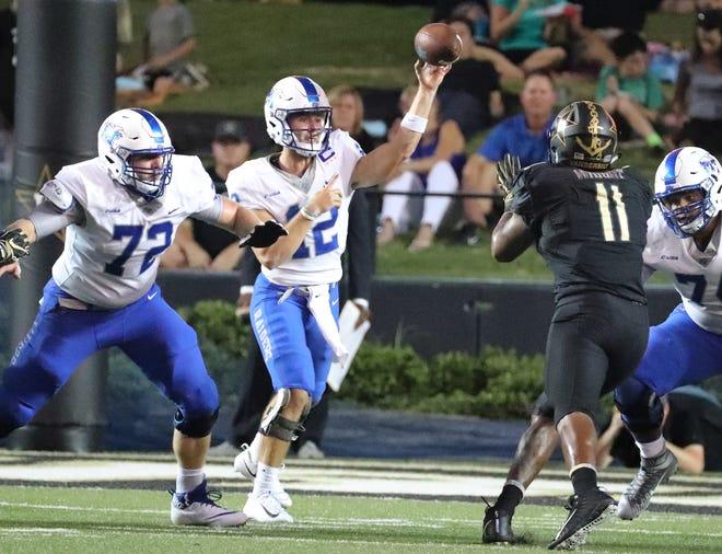 Middle Tennessee quarterback Brent Stockstill (12) passes in the first half at Vanderbilt Stadium Saturday, Sept. 1, 2018, in Nashville, Tenn.