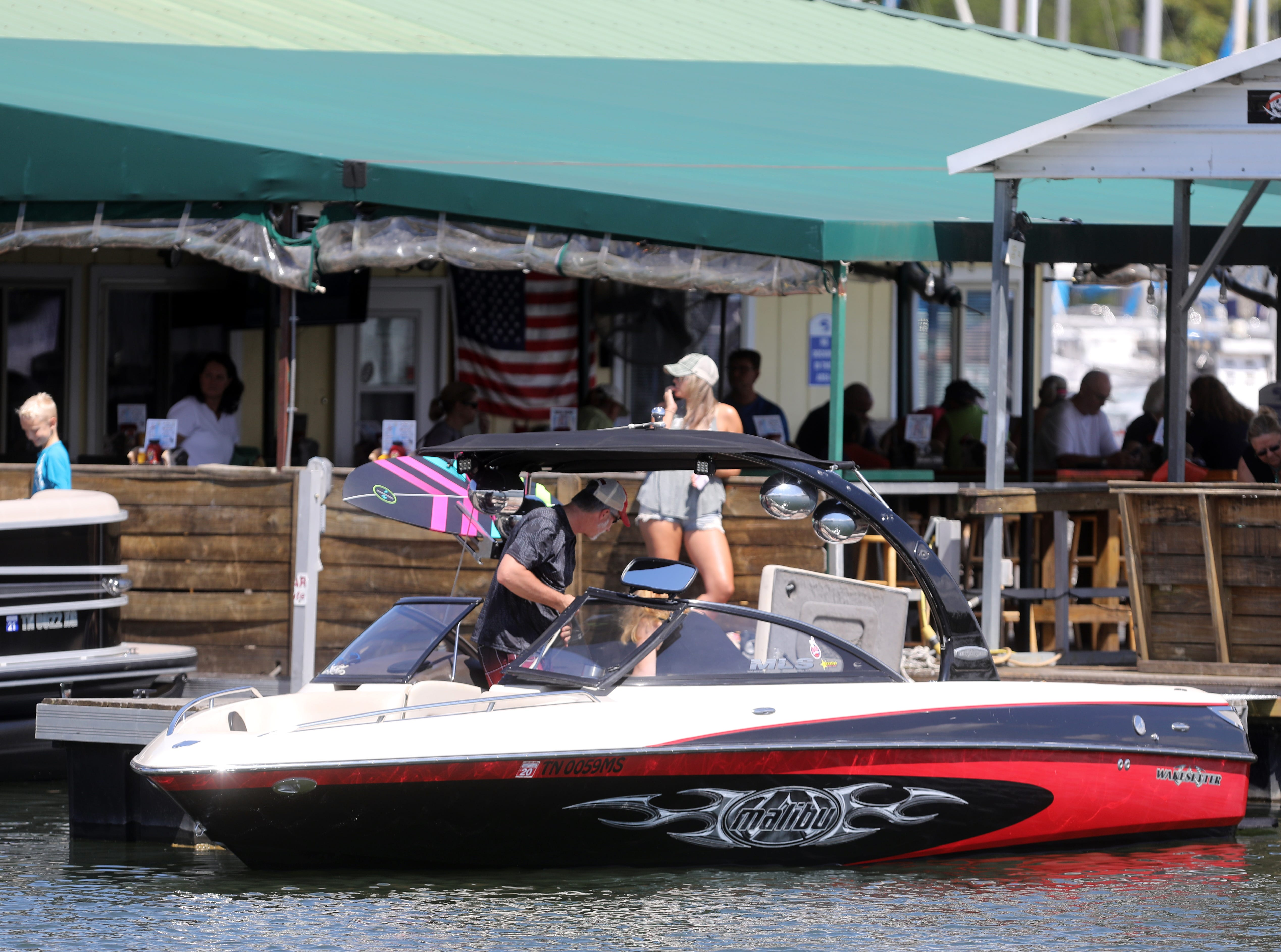 Boaters take a lunch break at Elm Hill Marina on Percy Priest Lake Sunday September 2, 2018.