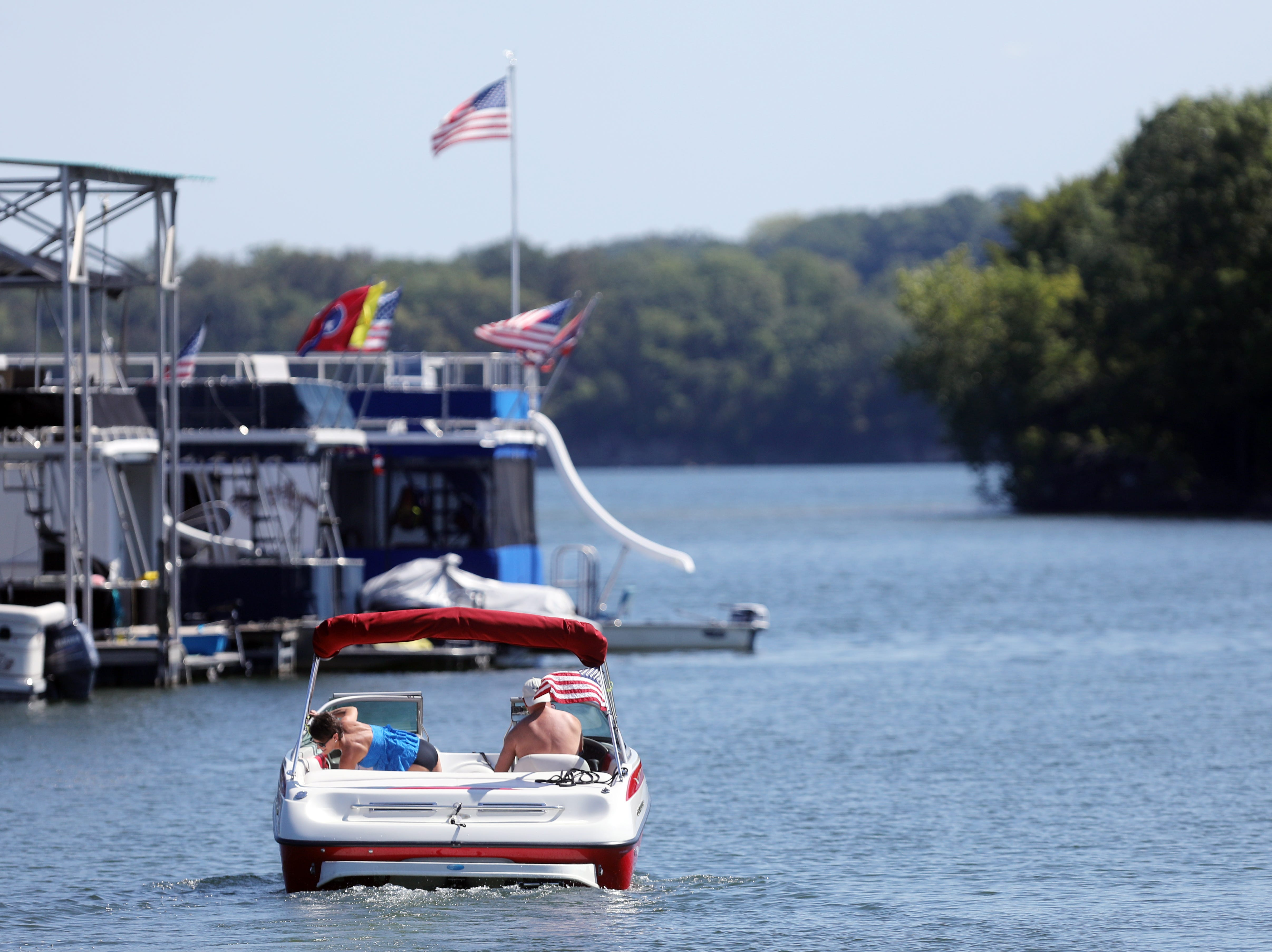 Boaters set off from Elm Hill Marina on Percy Priest Lake Sunday September 2, 2018.