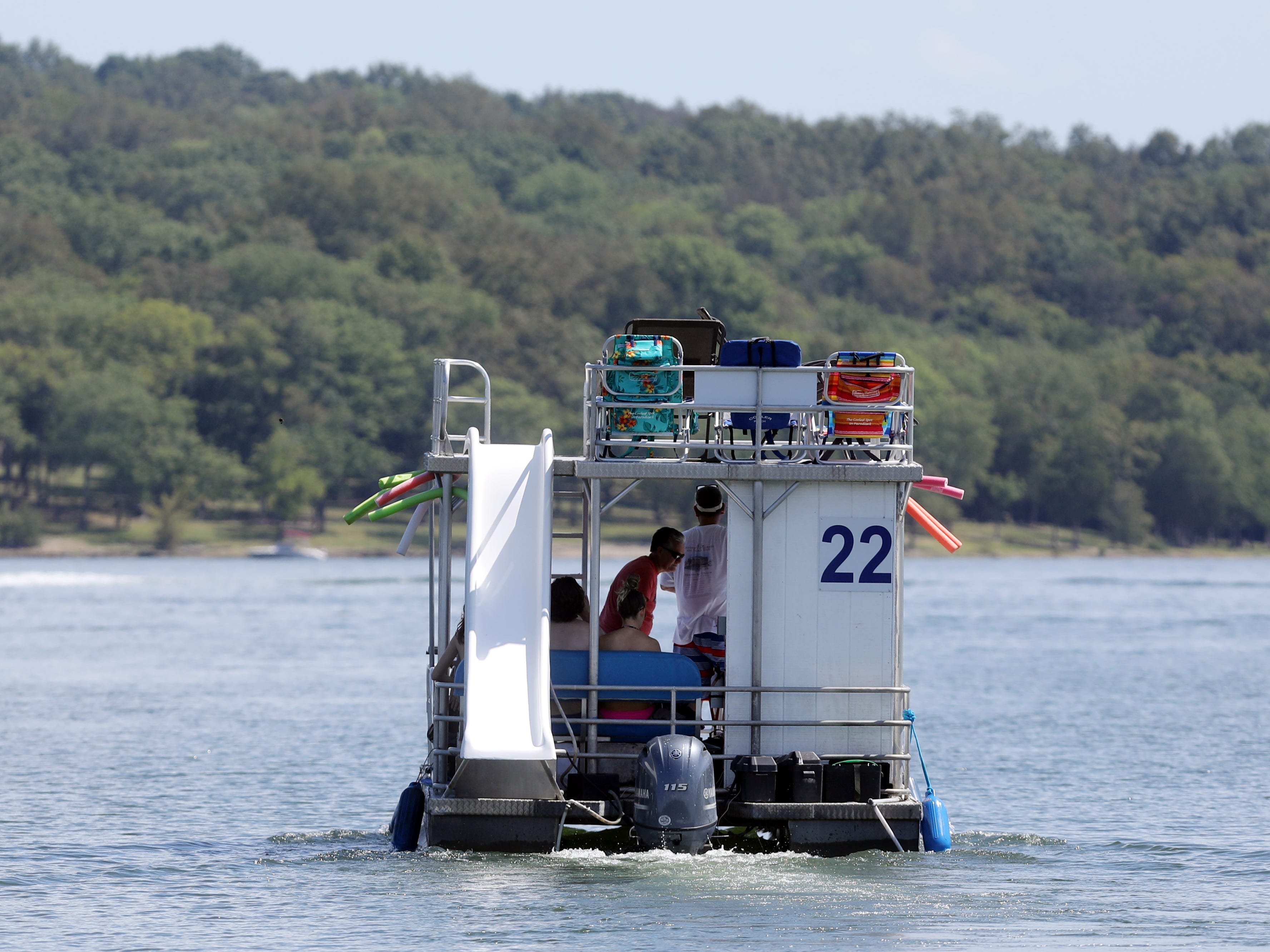 Boaters depart from Elm Hill Marina for a day on Percy Priest Lake Sunday September 2, 2018.