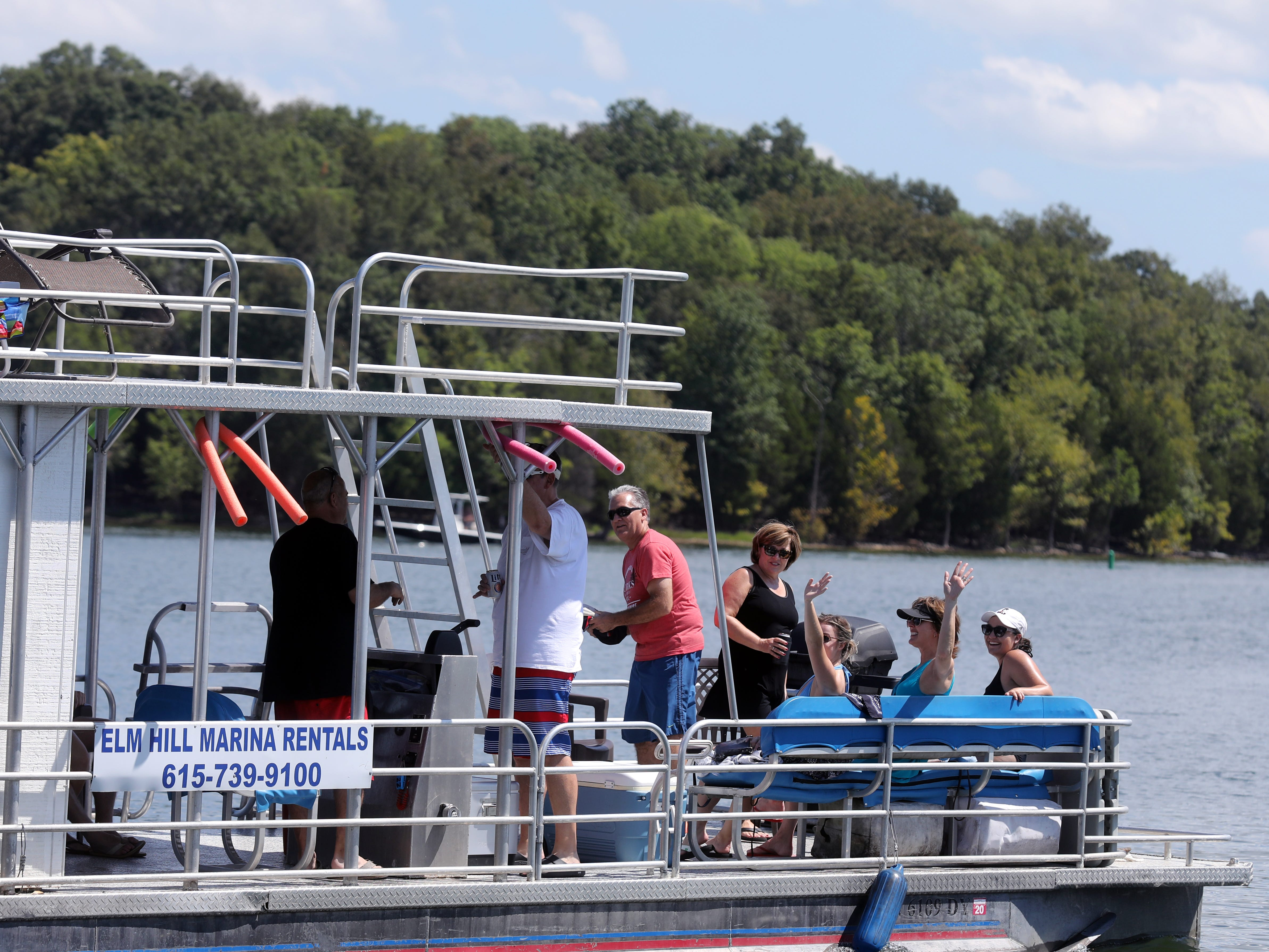 A group of friends departs from Elm Hill Marina on a rental boat for a day on Percy Priest Lake Sunday September 2, 2018.
