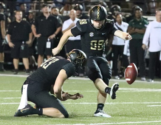 Vanderbilt place kicker Ryley Guay (98) kicks an extra point in the second half at Vanderbilt Stadium Saturday, Sept. 1, 2018, in Nashville, Tenn.