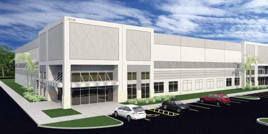 A rendering of Meridian Center North, which is nearing completion on the east side of Ben Hill Griffin Parkway just south of the Southwest Florida International Airport.