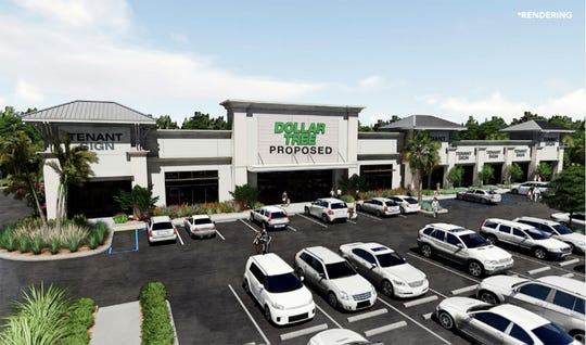 A rendering of a small retail strip to be anchored by Dollar Tree is under construction at Price Street Plaza, which also includes freestanding buildings for Wawa and Tire Kingdom fronting U.S. 41 East.