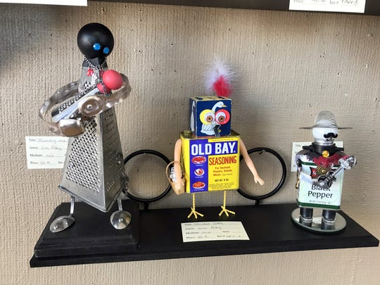 "Lisa Riley used common household items to create, from left, ""Mommie and Me,"" ""Chicken Little"" and ""Senor Peppe."""