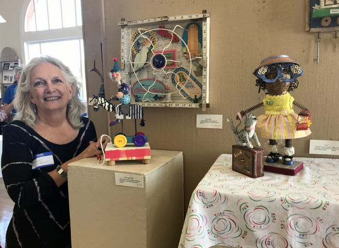 Local artist Sharon Blazier says she had fun collecting items from a junk pile in the desert to create her art pieces for the Deming Art Council's Assemblage Art Show at the Deming Arts Center, 100 S. Gold Avenue. The show will run through the month of September.