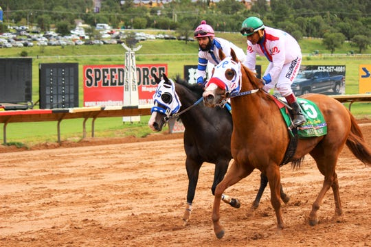 Jockey Jose AmadorAlvarez rides Jess Move You on Sunday at Ruidoso Downs in the All American Derby.