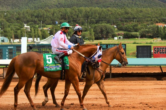 Cody Jensen on Jess Move You minutes before the 9th at the All American Derby at Ruidoso Race Track Labor Day weekend.