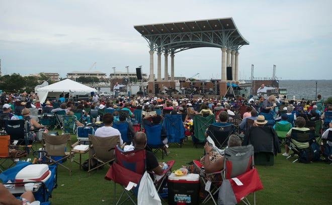 The crowd gets into the music Saturday, September 1, 2018 during Gulf Coast Summer Fest-Jazz Edition at Community Maritime Park.