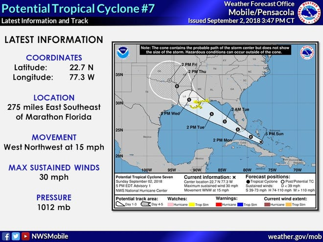 As Potential Tropical Cyclone Seven makes its way northeast, the National Hurricane Center has issued a tropical storm watch for portions of the central Gulf Coast from the Alabama-Florida border westward to east of Morgan City, Louisiana.