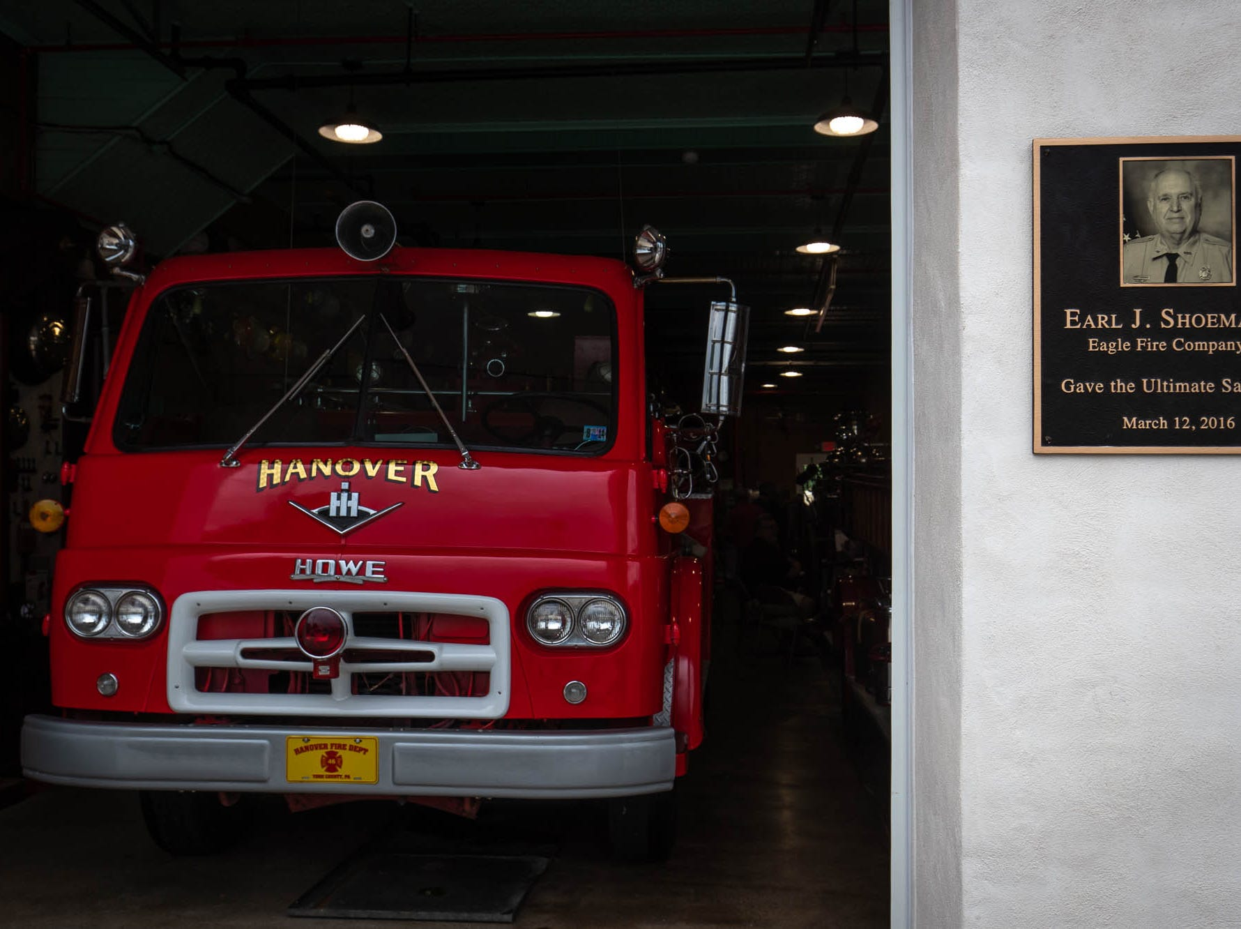 A plaque memorializes fallen firefighter Earl Shoemaker, a 43-year volunteer, after the dedication ceremony for the new Greater Hanover Area Fire Museum, Saturday, Sept. 1, 2018, in Hanover.