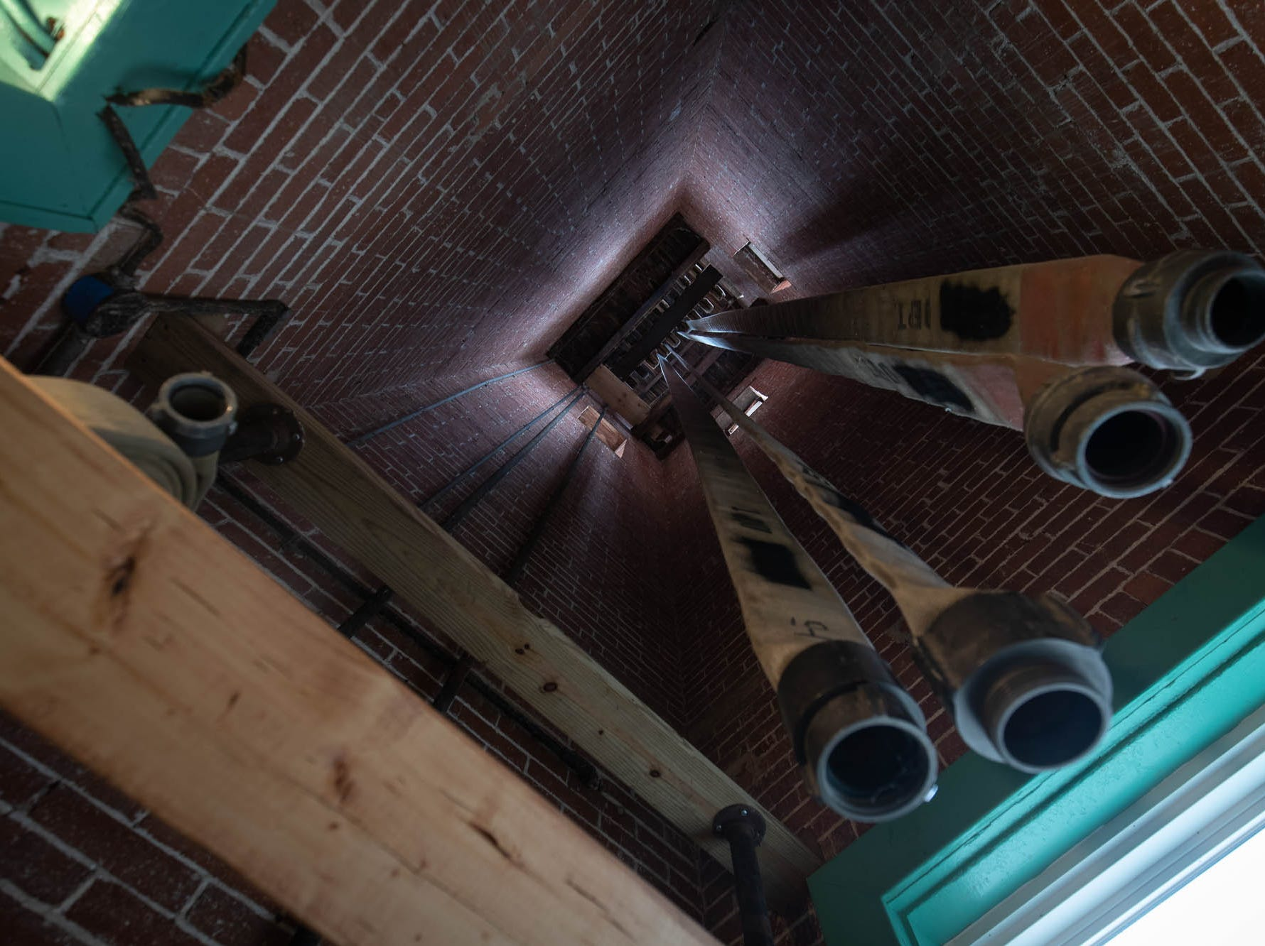 Hoses hang in the hose tower of the new Greater Hanover Area Fire Museum, Saturday, Sept. 1, 2018, in Hanover.
