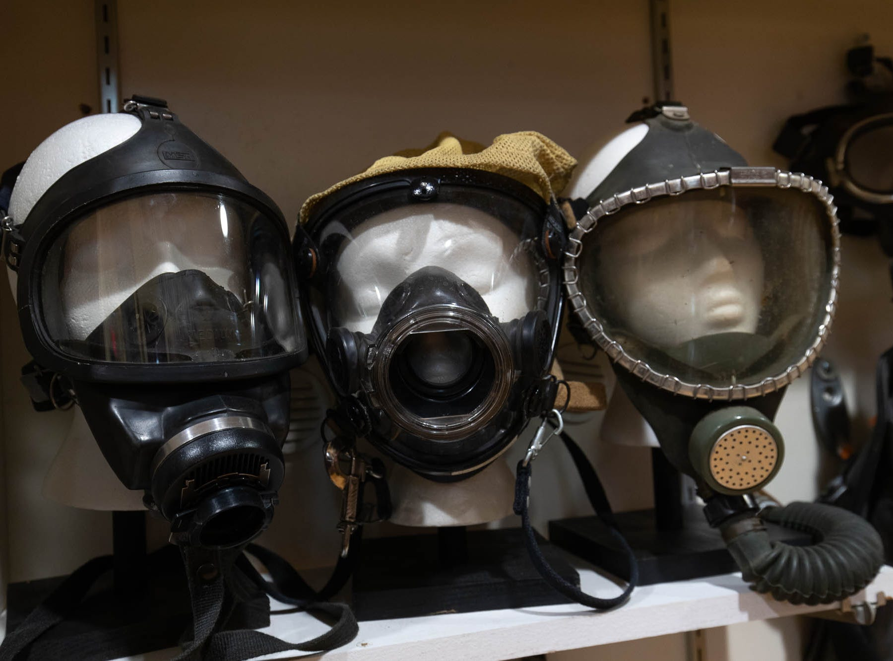 Vintage SCBA masks are seen in the new Greater Hanover Area Fire Museum, Saturday, Sept. 1, 2018, in Hanover.