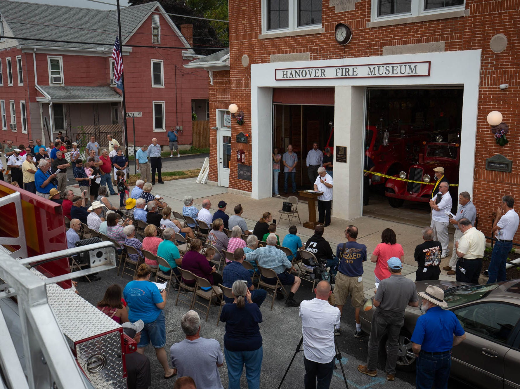 Retired fire commissioner Jim Roth speaks during the dedication ceremony for the new Greater Hanover Area Fire Museum, Saturday, Sept. 1, 2018, in Hanover.