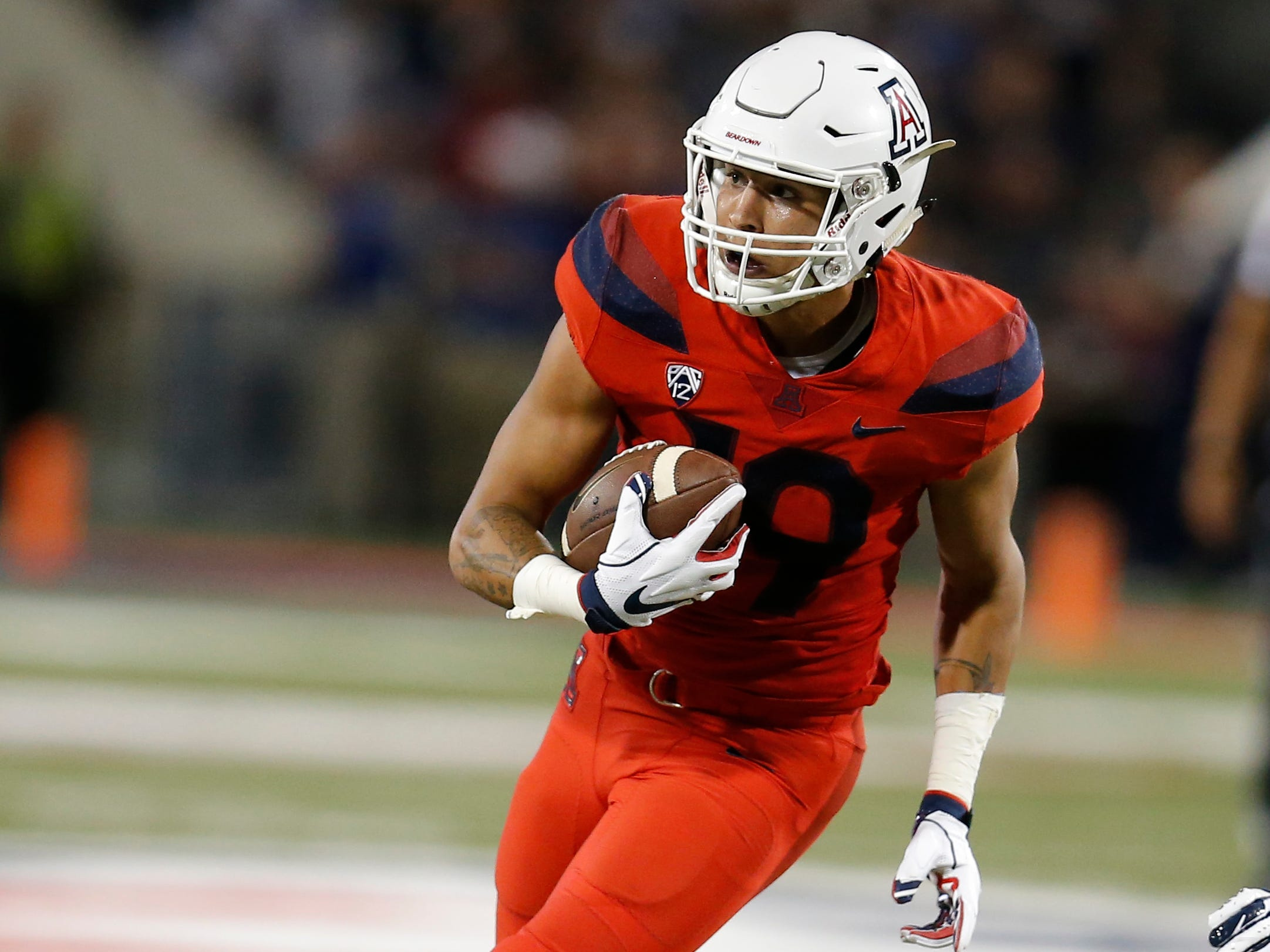 Arizona wide receiver Shawn Poindexter (19) in the first half during an NCAA college football game against Brigham Young, Saturday, Sept. 1, 2018, in Tucson, Ariz.