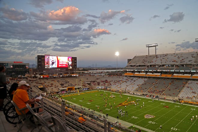 Clouds hang over Sun Devil Stadium before an ASU game against UTSA in Tempe, Ariz. on Sept. 1, 2018.
