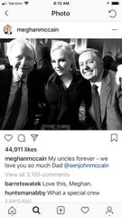 Meghan McCain posted a photo on Instagram on Aug. 31, 2018, with her dad John McCain's friends on the day McCain lie in state at the U.S. Capitol. Former U.S. Sen. Joe Lieberman, left, and current U.S. Sen. Lindsey Graham are pictured with Meghan.