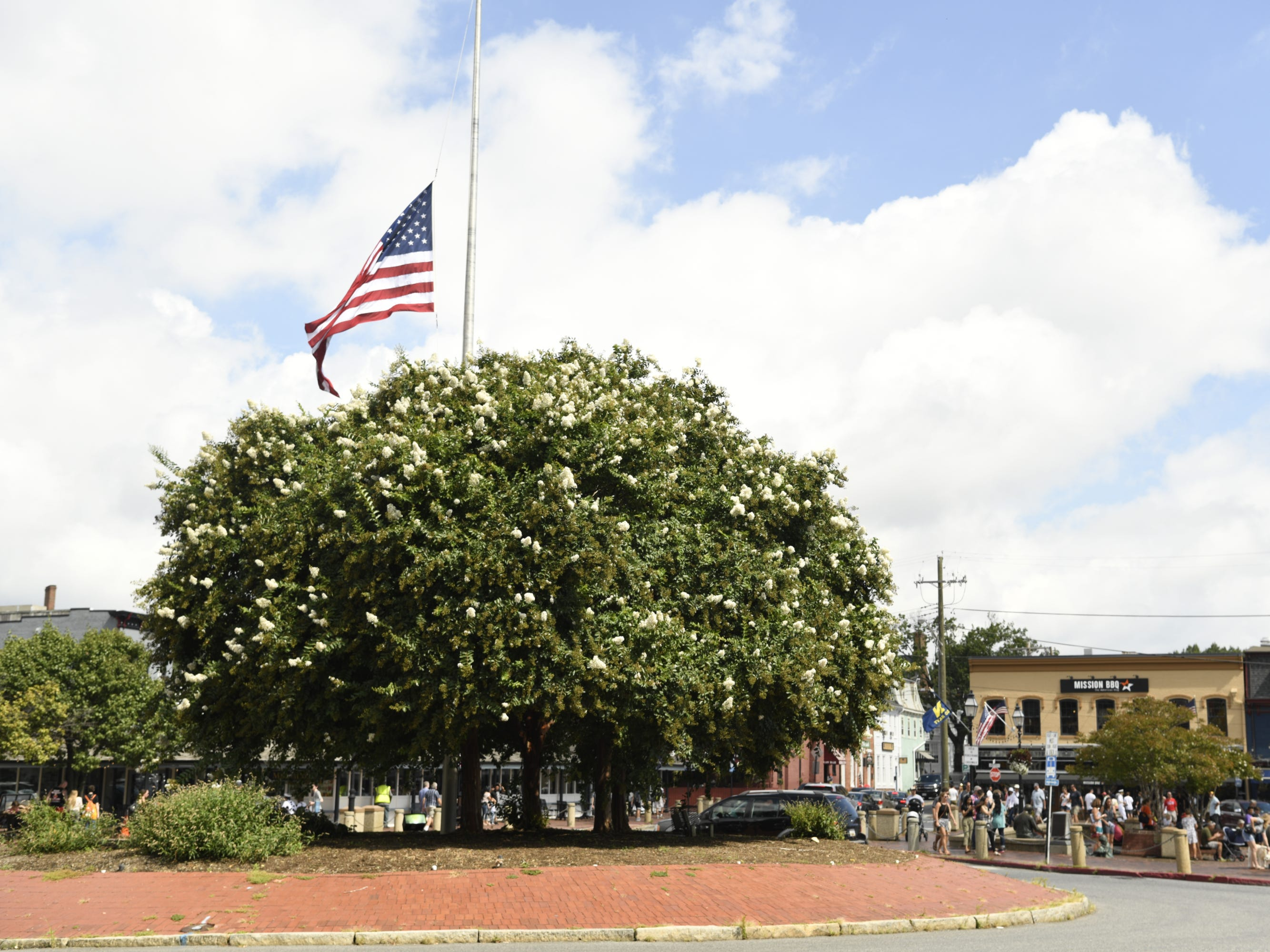 The flag in downtown Annapolis flies at half staff the morning that John McCain is to be laid to rest at the U.S. Naval Academy.