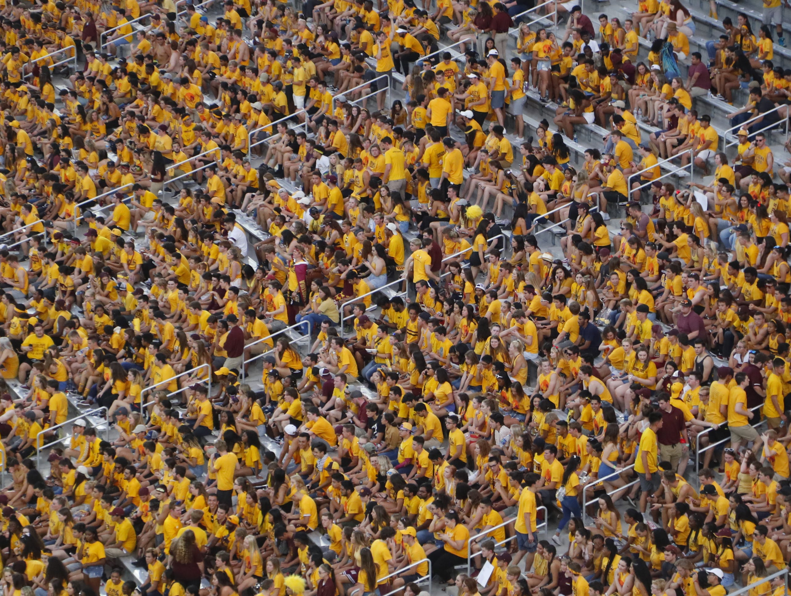 Fans enter the student section at Sun Devil Stadium before a game against UTSA in Tempe, Ariz. on Sept. 1, 2018.