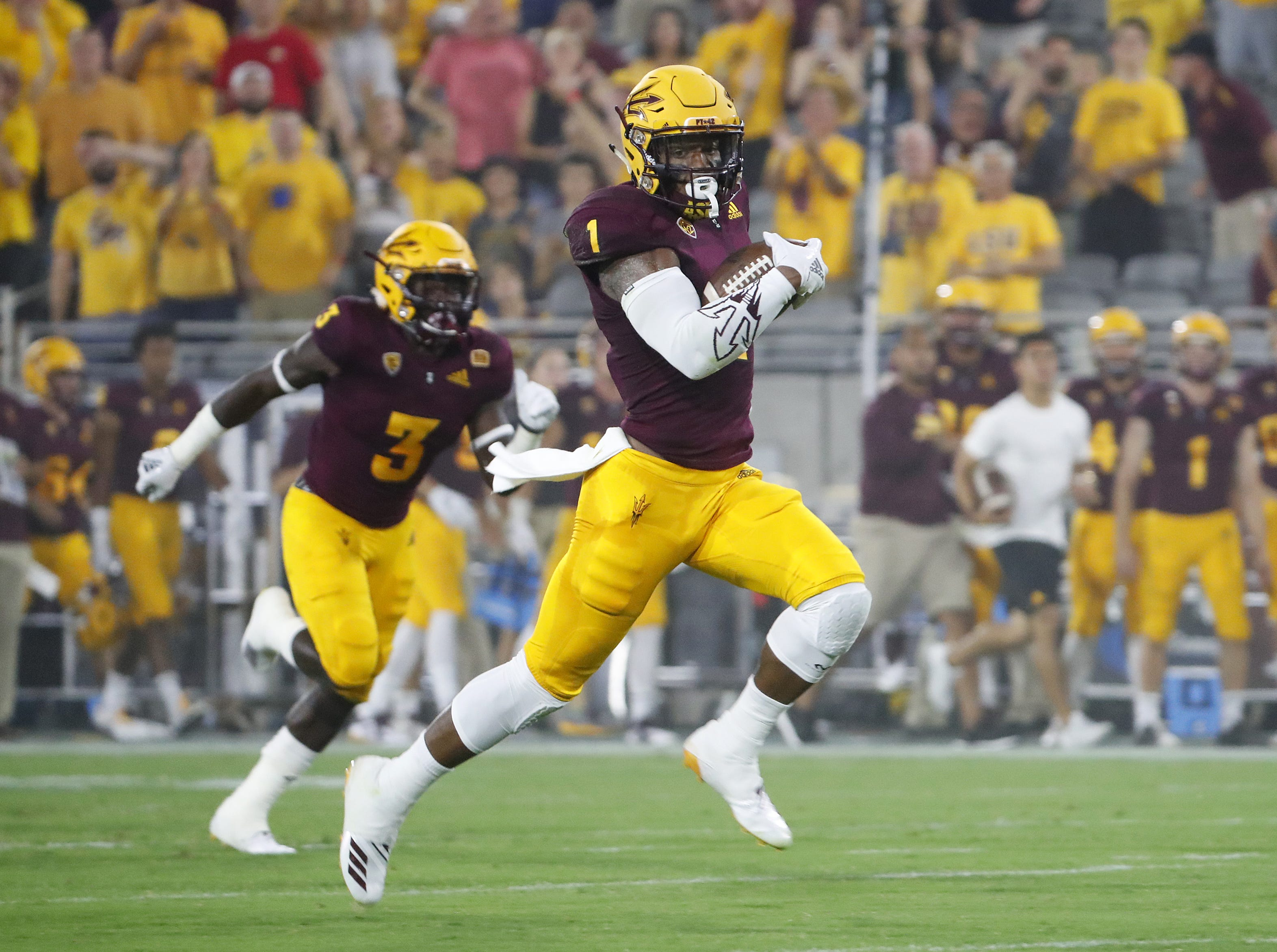 ASU's Arizona State Sun Devils wide receiver N'Keal Harry (1) breaks free for a 58-yard touchdown reception against UTSA Roadrunners in the first quarter at Sun Devil Stadium in Tempe, Ariz. on Sept. 1, 2018.