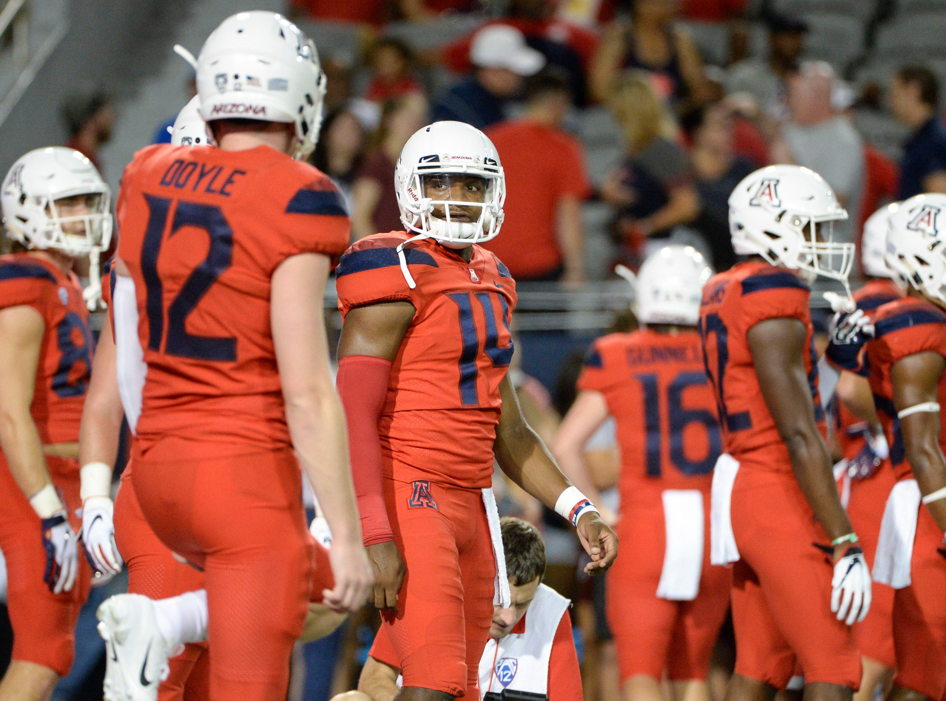 Sep 1, 2018; Tucson, AZ, USA; Arizona Wildcats quarterback Khalil Tate (14) warms up before playing the Brigham Young Cougars at Arizona Stadium.