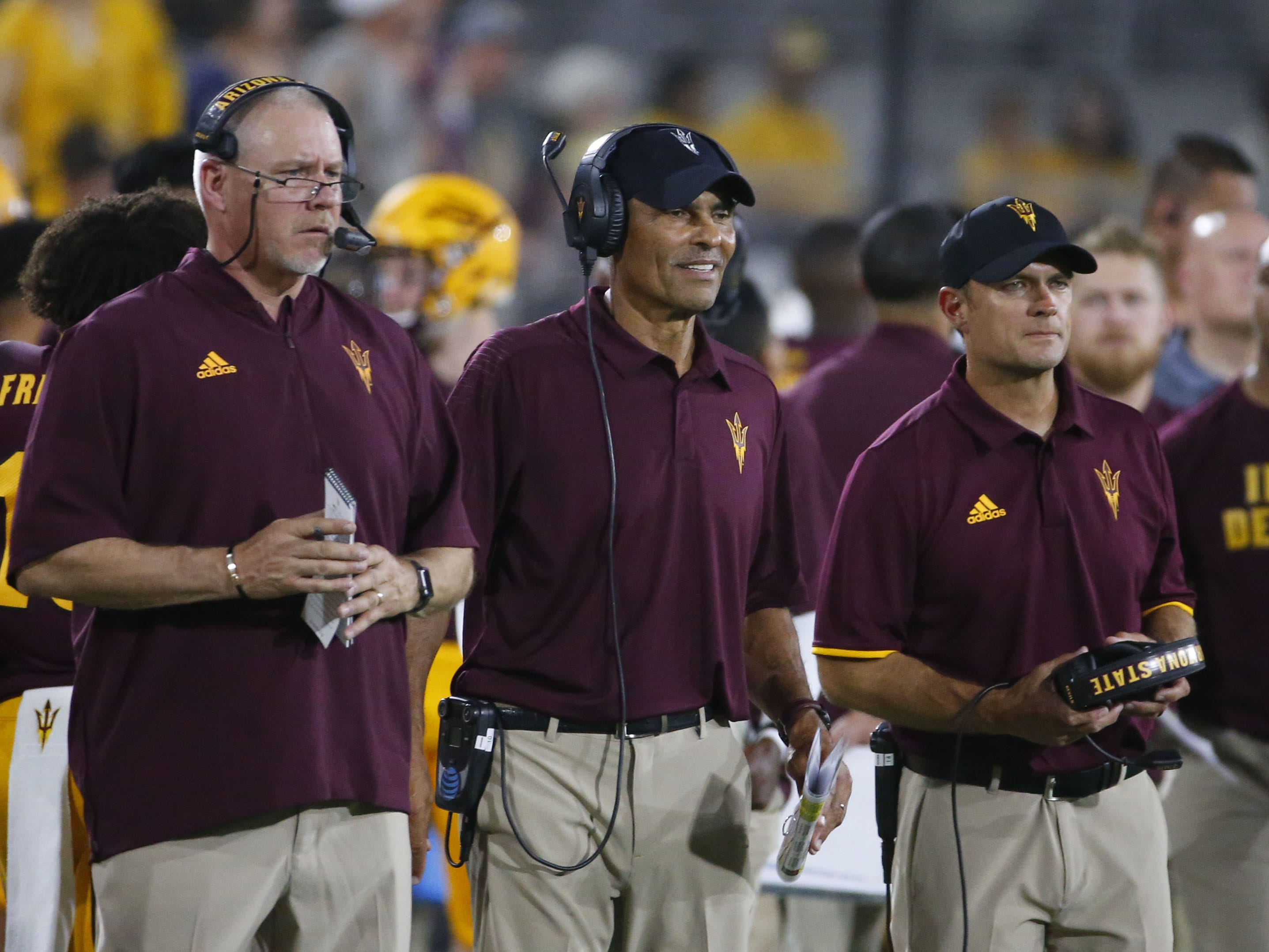 Arizona State Sun Devils head coach Herm Edwards, center, watches his team from the sidelines during a football game against the UTSA Roadrunners at Sun Devil Stadium in Tempe on September 1, 2018.