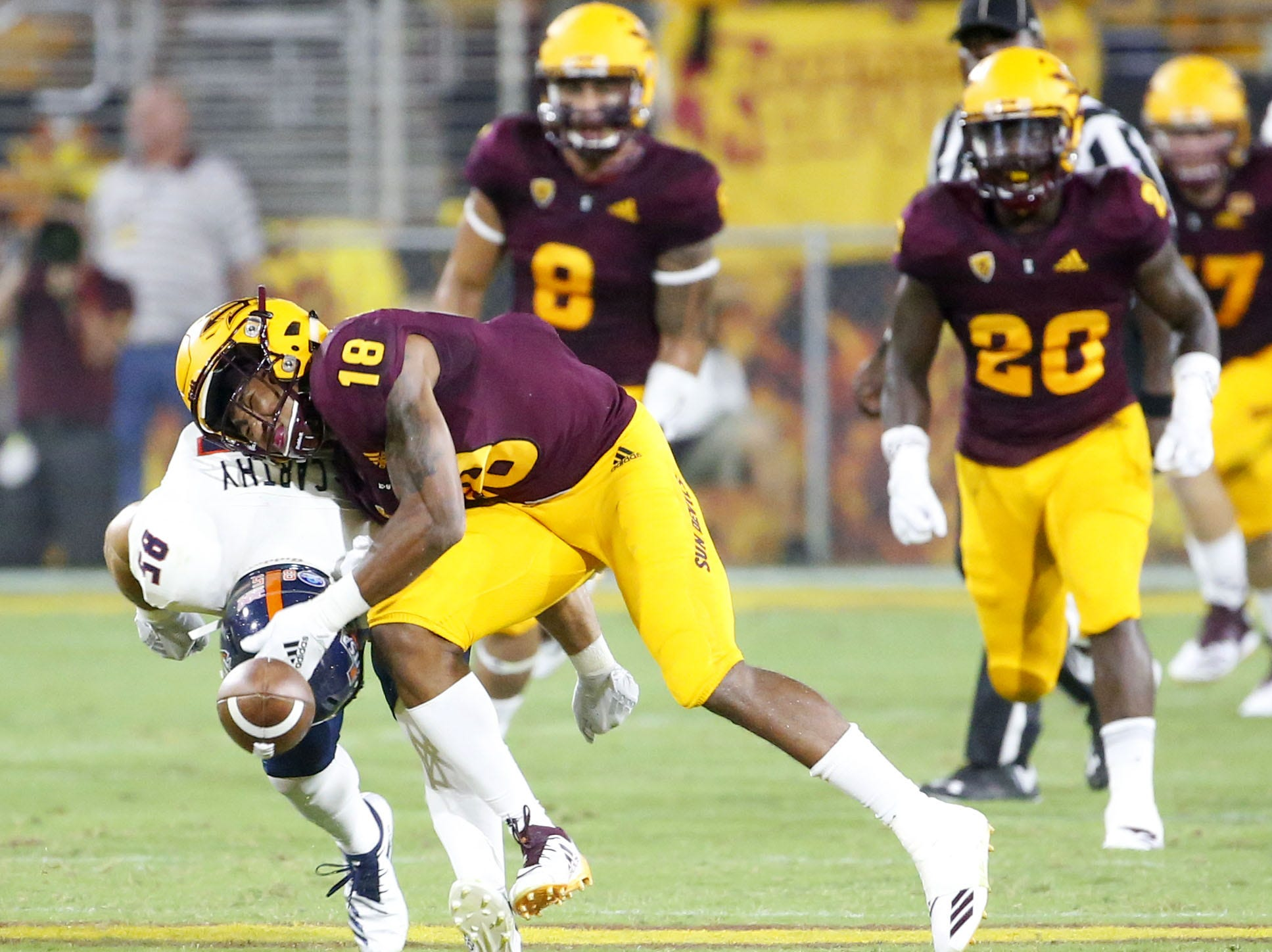 Arizona State Sun Devils cornerback Langston Frederick (18) breaks up a pass intended for Roadrunners tight end Carter McCarthy (85) during a football game at Sun Devil Stadium in Tempe on September 1, 2018.