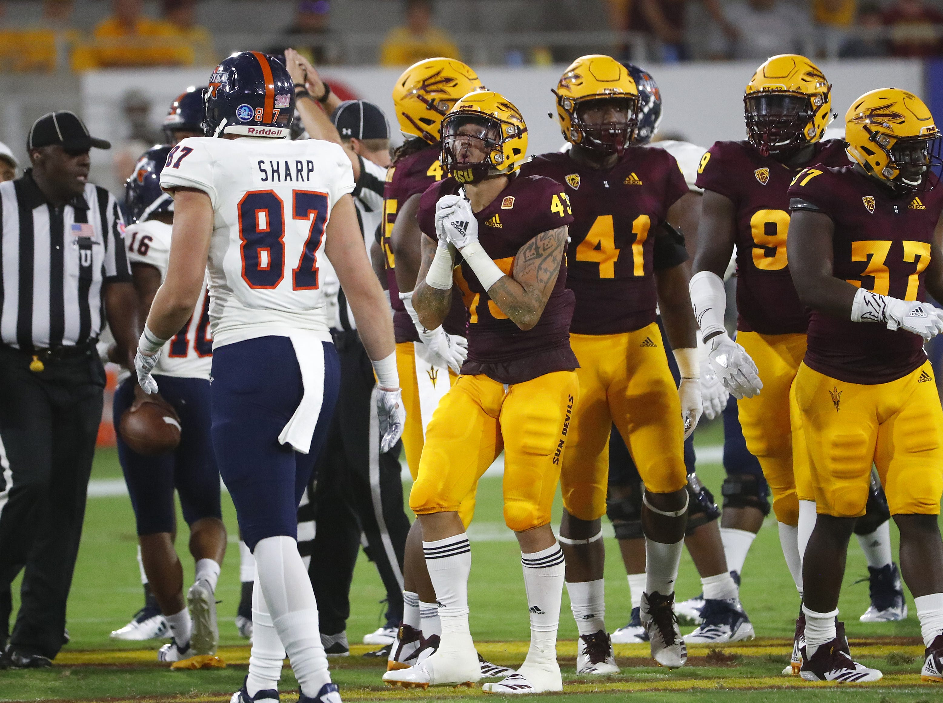 Arizona State Sun Devils safety Jalen Harvey (43) reacts to being flagged for targeting during the first half at Sun Devil Stadium in Tempe, Ariz. on Sept. 1, 2018. Harvey was ejected for the foul.