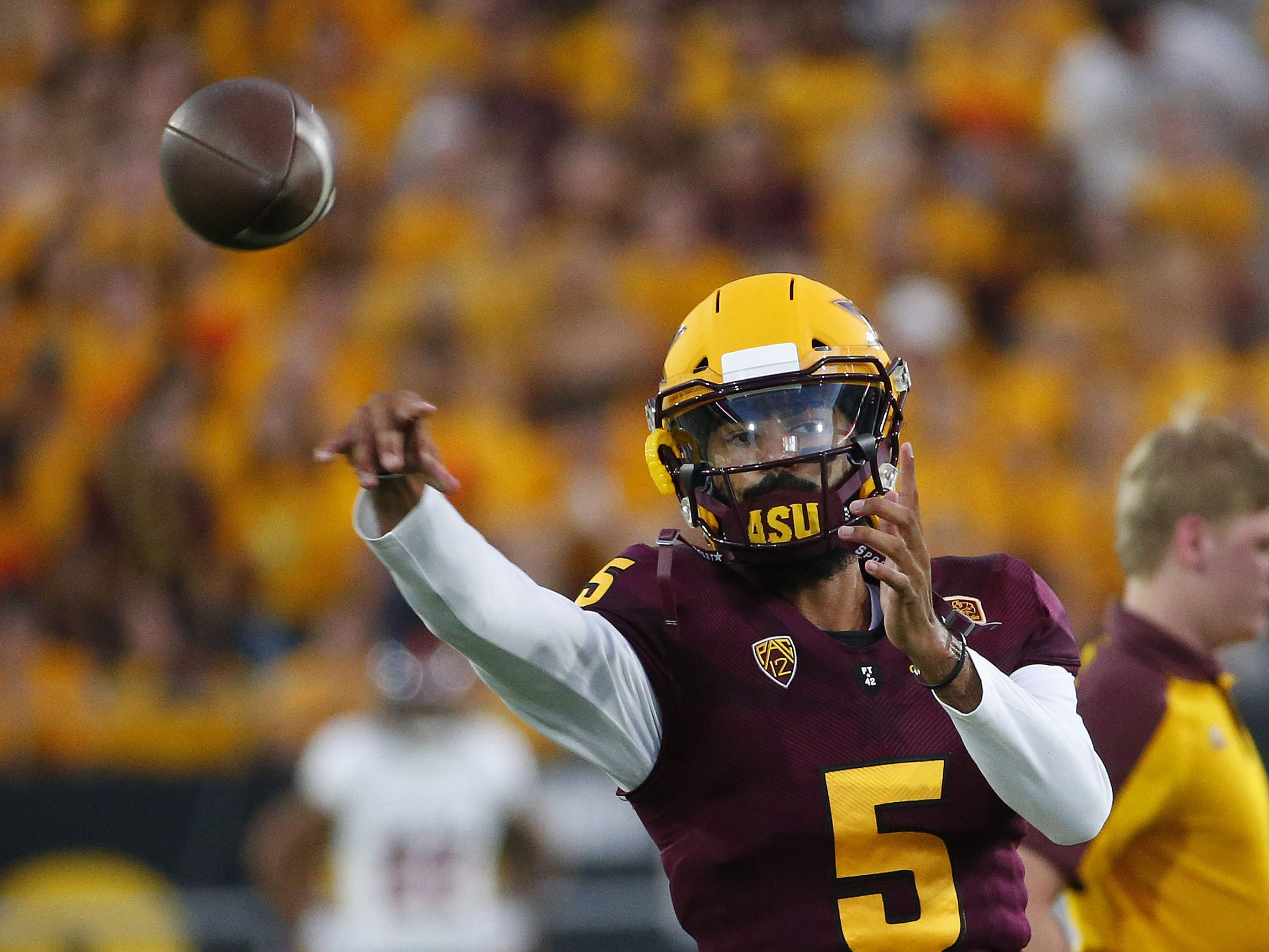Arizona State Sun Devils quarterback Manny Wilkins (5) warms up before a football game against the UTSA Roadrunners at Sun Devil Stadium in Tempe on September 1, 2018.