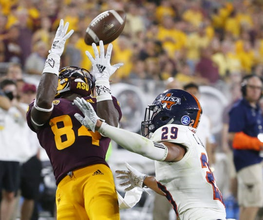 Frank Darby makes a catch against Texas-San Antonio in ASU's season opener on Sept. 1.