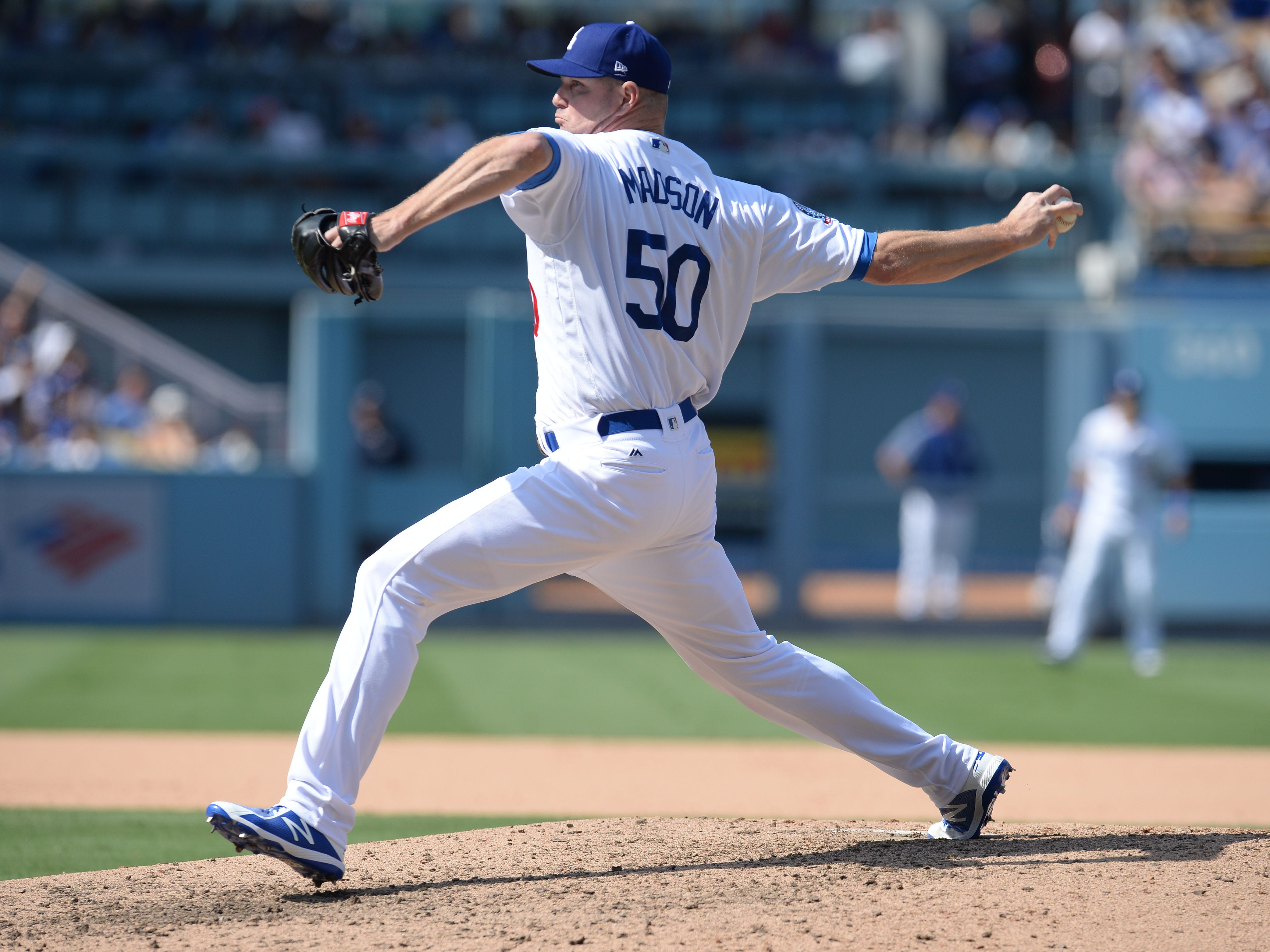 September 2, 2018; Los Angeles, CA, USA; Los Angeles Dodgers relief pitcher Ryan Madson (50) throws against the Arizona Diamondbacks in the seventh inning at Dodger Stadium. Mandatory Credit: Gary A. Vasquez-USA TODAY Sports