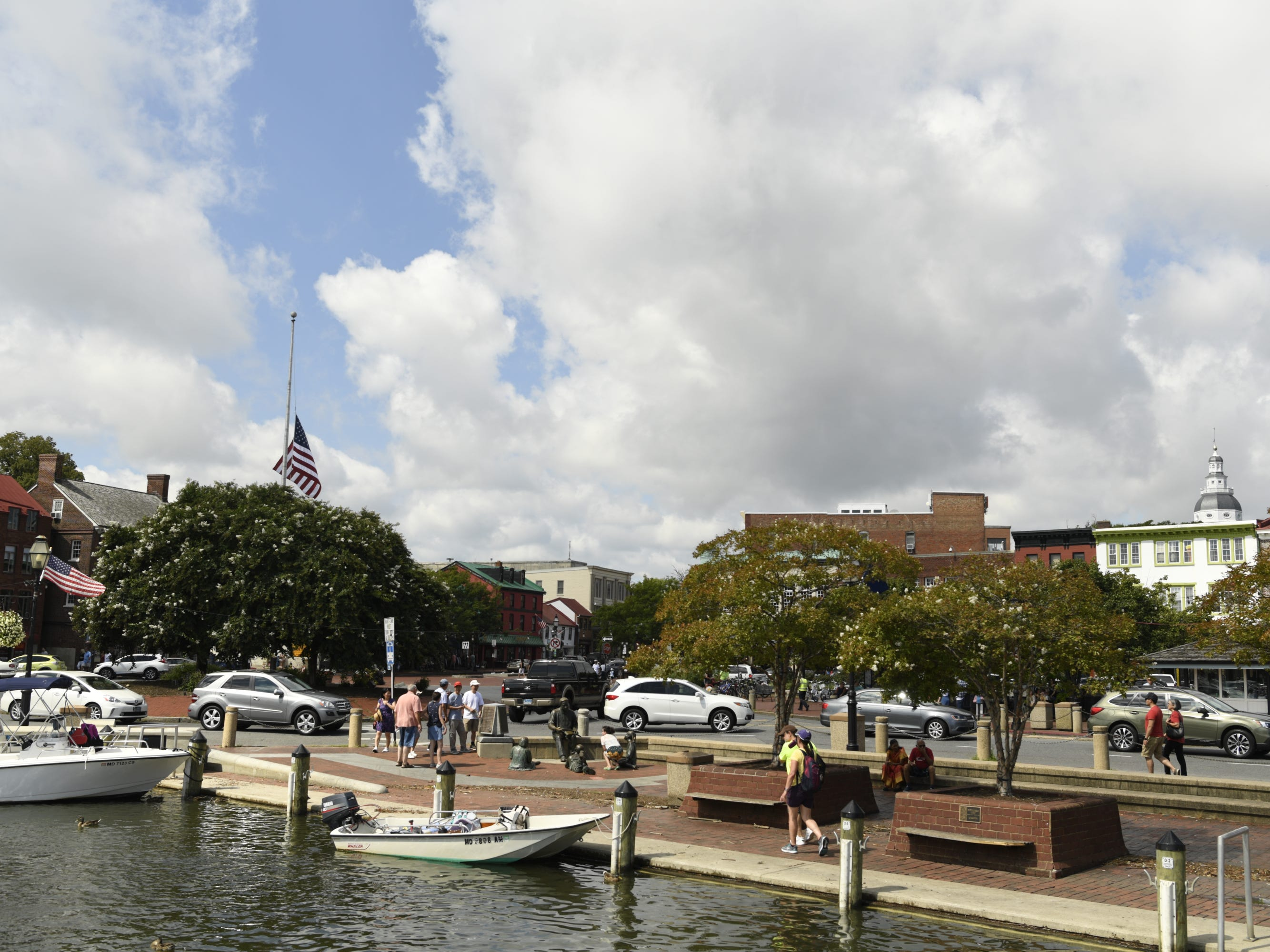 The U.S. flag flies at half staff in Annapolis harbor the morning that John McCain is to be laid to rest at the U.S. Naval Academy.