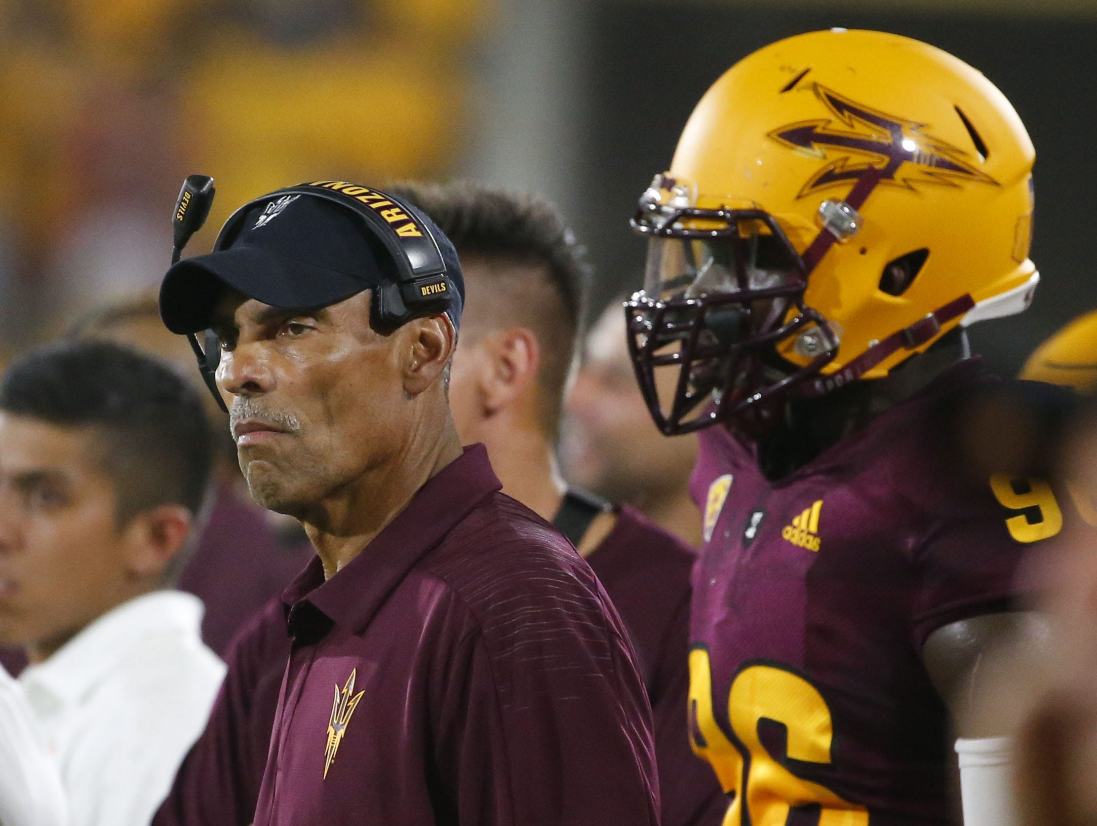 Arizona State Sun Devils head coach Herm Edwards watches from the sidelines during a football game  against the UTSA Roadrunners at Sun Devil Stadium in Tempe on September 1, 2018.