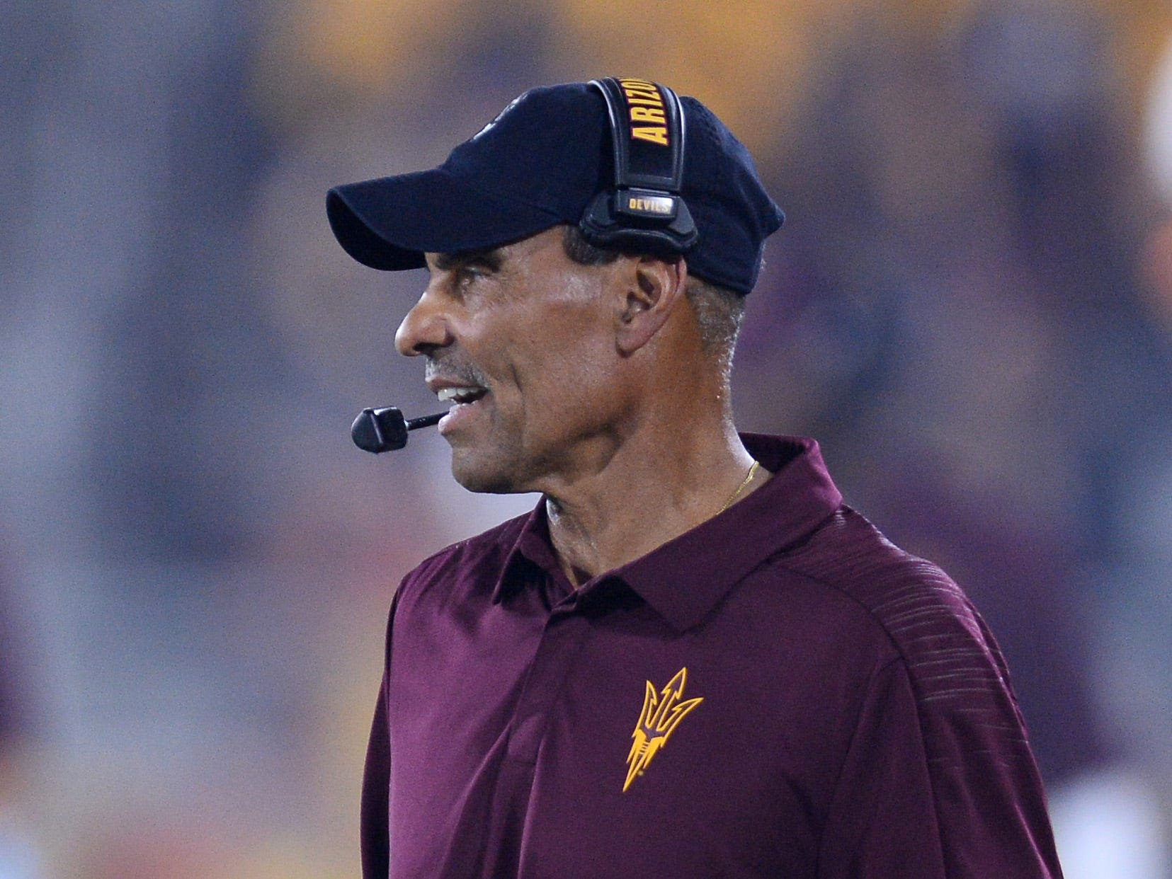Sep 1, 2018; Tempe, AZ, USA; Arizona State Sun Devils head coach Herm Edwards looks on against the UTSA Roadrunners during the first half at Sun Devil Stadium.