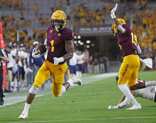 Arizona State Sun Devils wide receiver N'Keal Harry (1) runs in a reception for a touchdown against UTSA during the second half at Sun Devil Stadium in Tempe, Ariz. on Sept. 1, 2018.